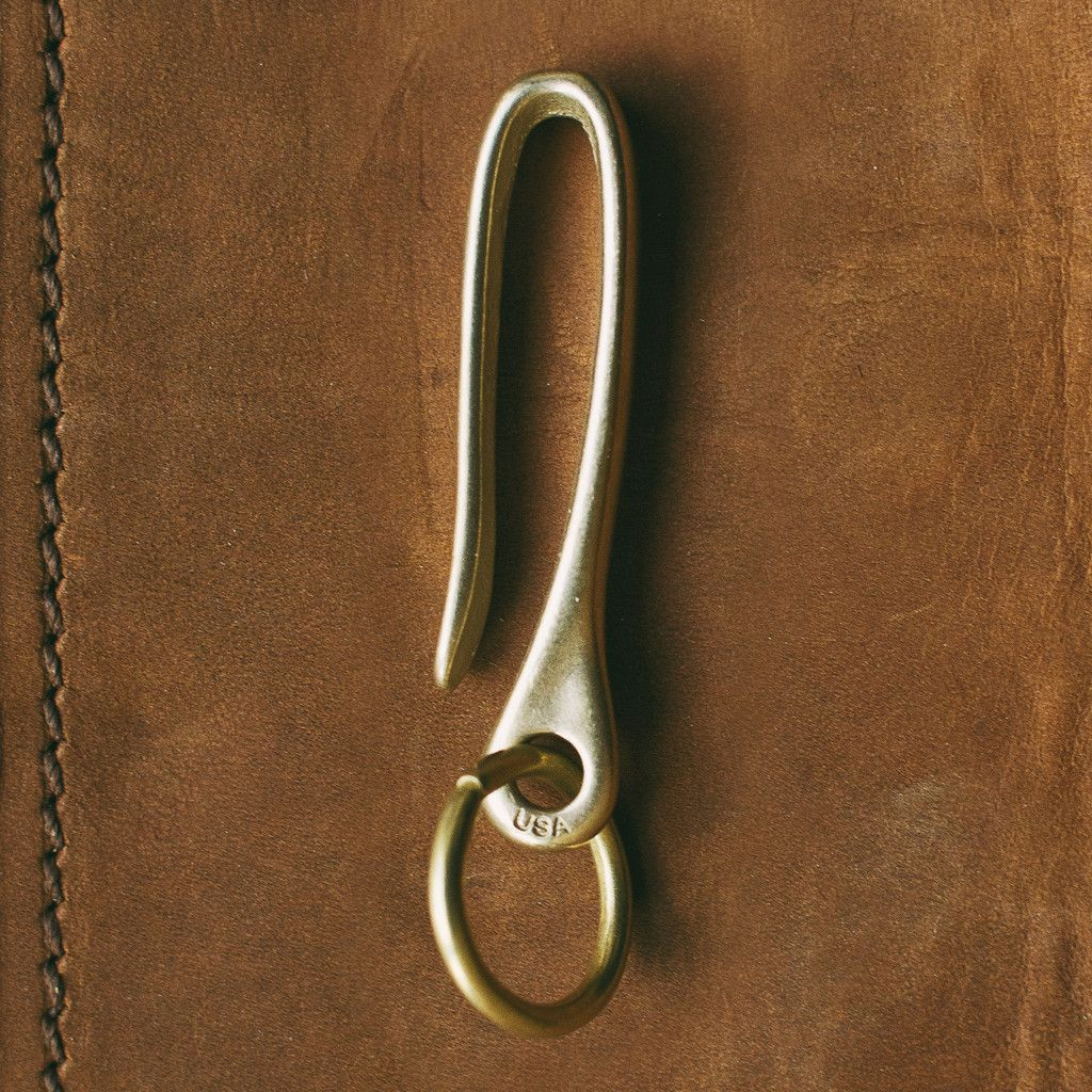 Solid Brass U Hook Fish Split Ring Key Chain Belt Wallet Vintage Clip 60mm