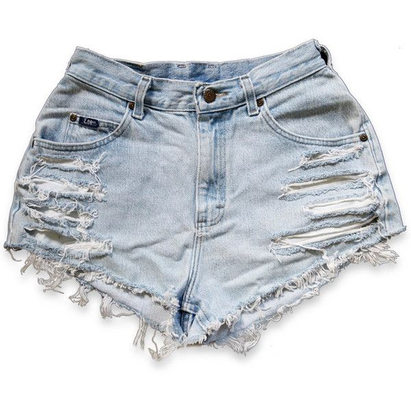 Vintage 90s Lee Blue Light Wash High Waisted Rise Cut Offs Frayed... (650 ARS) ❤ liked on Polyvore featuring shorts, bottoms, pants, short, high-waisted jean shorts, high rise denim shorts, denim cut-off shorts, denim shorts and blue jean shorts