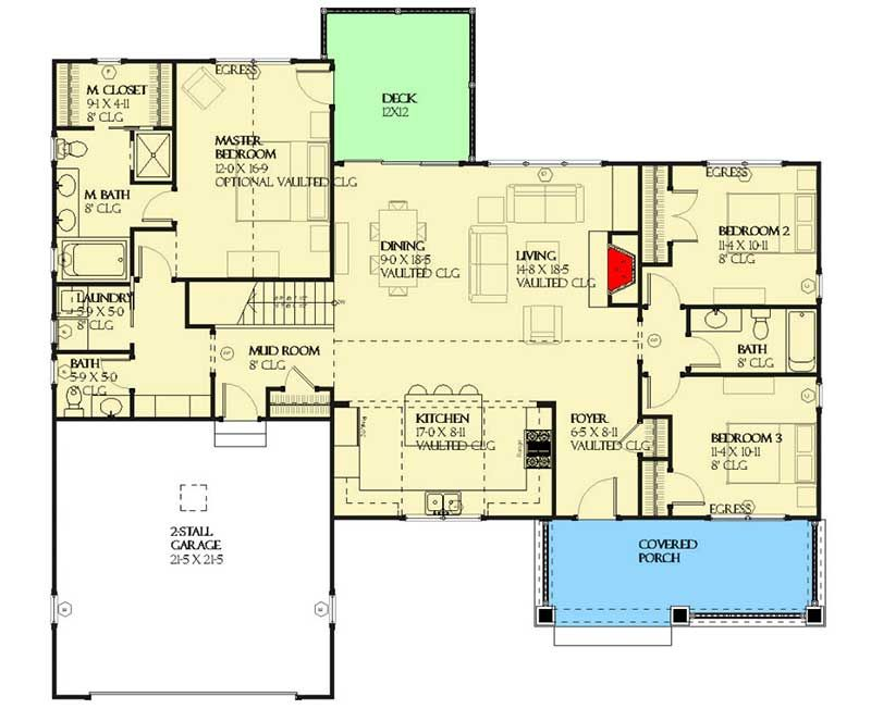 Plan 970059vc Shingle Style Ranch With Split Bedroom Layout
