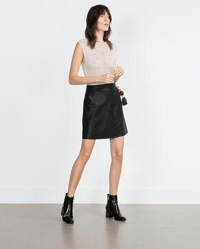 Leather Faldas Skirt Cuero Leggins De Zara Faux Woman Imitación Polipiel IZxwyBfq