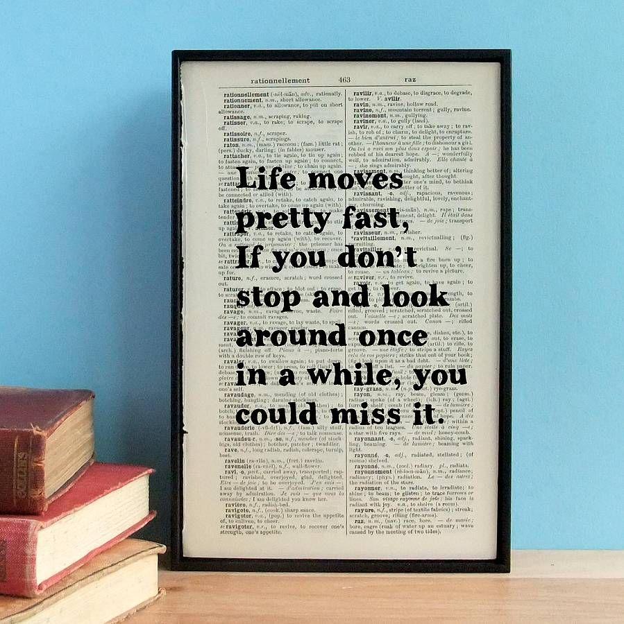 Ferris Bueller U0027Life Moves Pretty Fastu0027 Book Page Print