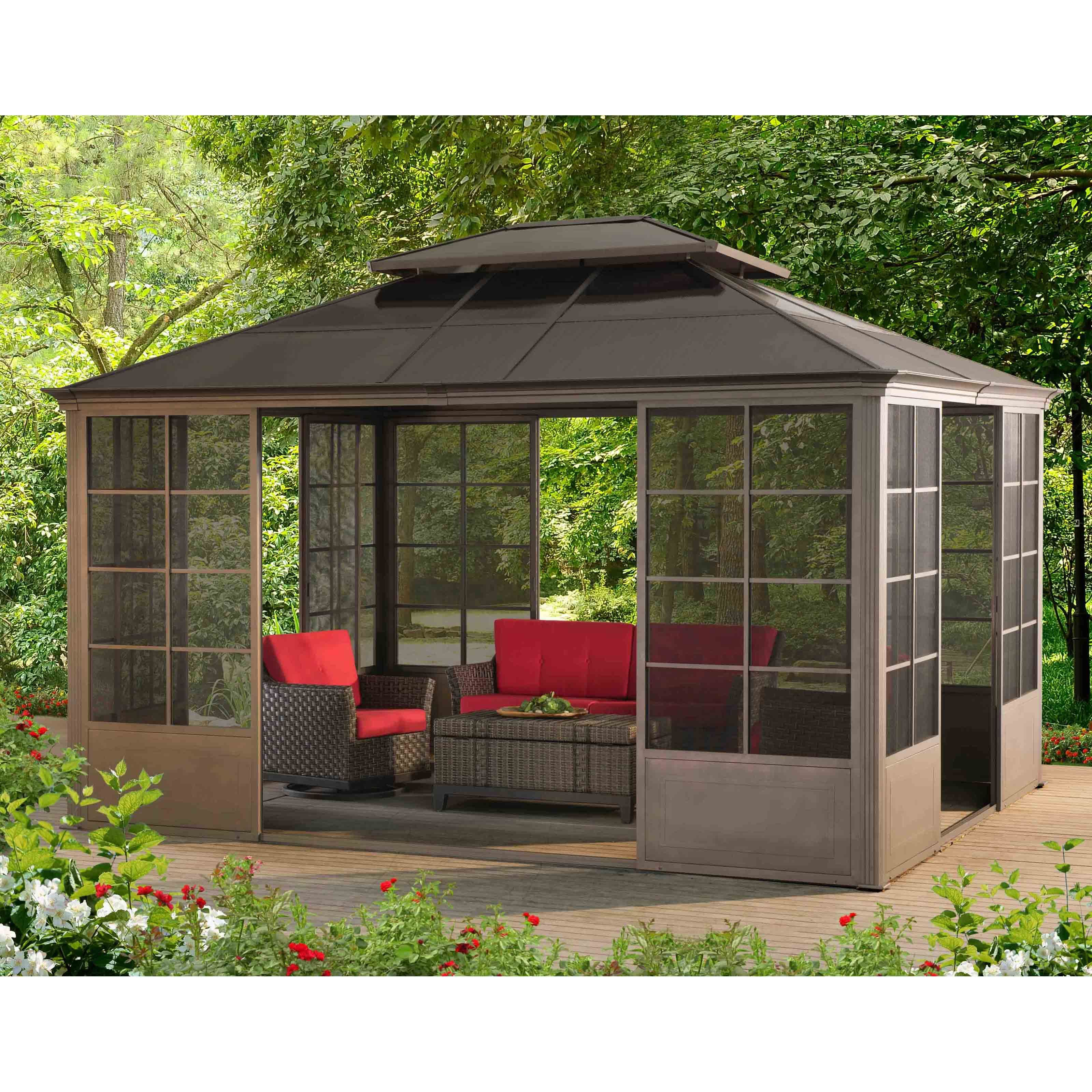 Sunjoy 14 x 9 ft Conner Screen House Gazebo