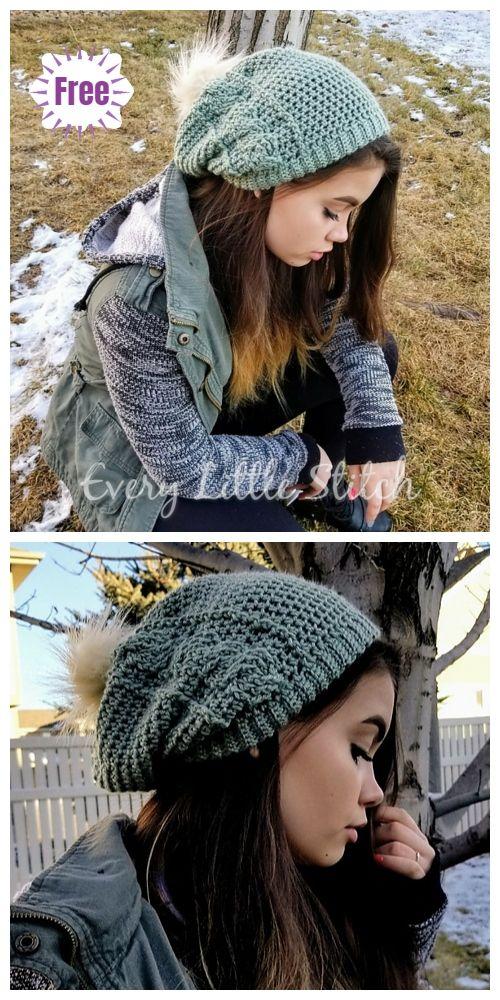 Crochet The Rora Cable Slouch Hat Free Crochet Pattern | CROCHET ...