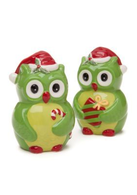 Home Accents  Christmas Day Owl Salt  Pepper Shaker Set