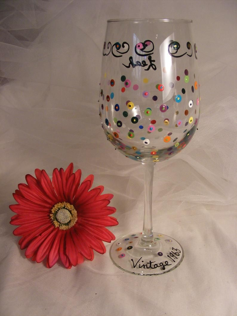 "Birthday wine glass ""Vintage 1969"" 50th birthday colorful"
