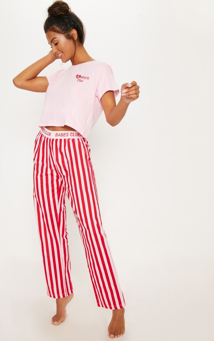 ff12d65dd2 Red Babes Club Stripe Pyjama SetThis Pyjama set is perfect for those lazy  rainy days with bae. Featuring a cute baby pink top and stripe PJ pants  with an ...