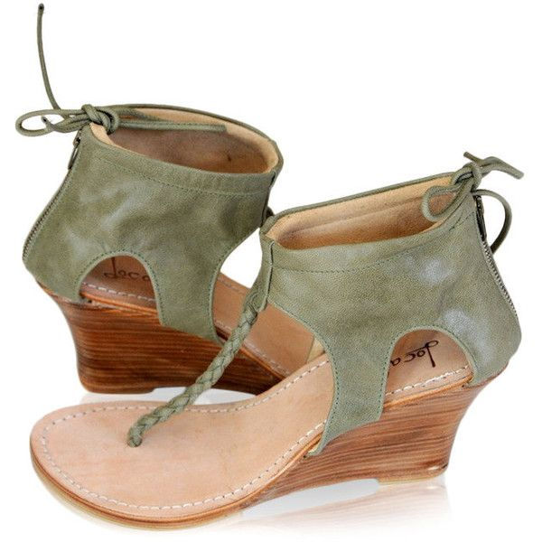 Aphrodite Olive Green Shoes Leather