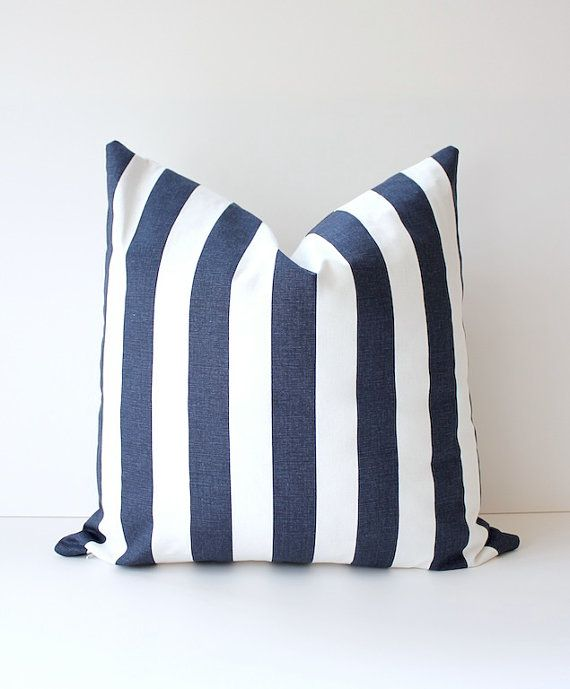 Striped Nautical Navy Blue Designer Pillow Cover White Accent