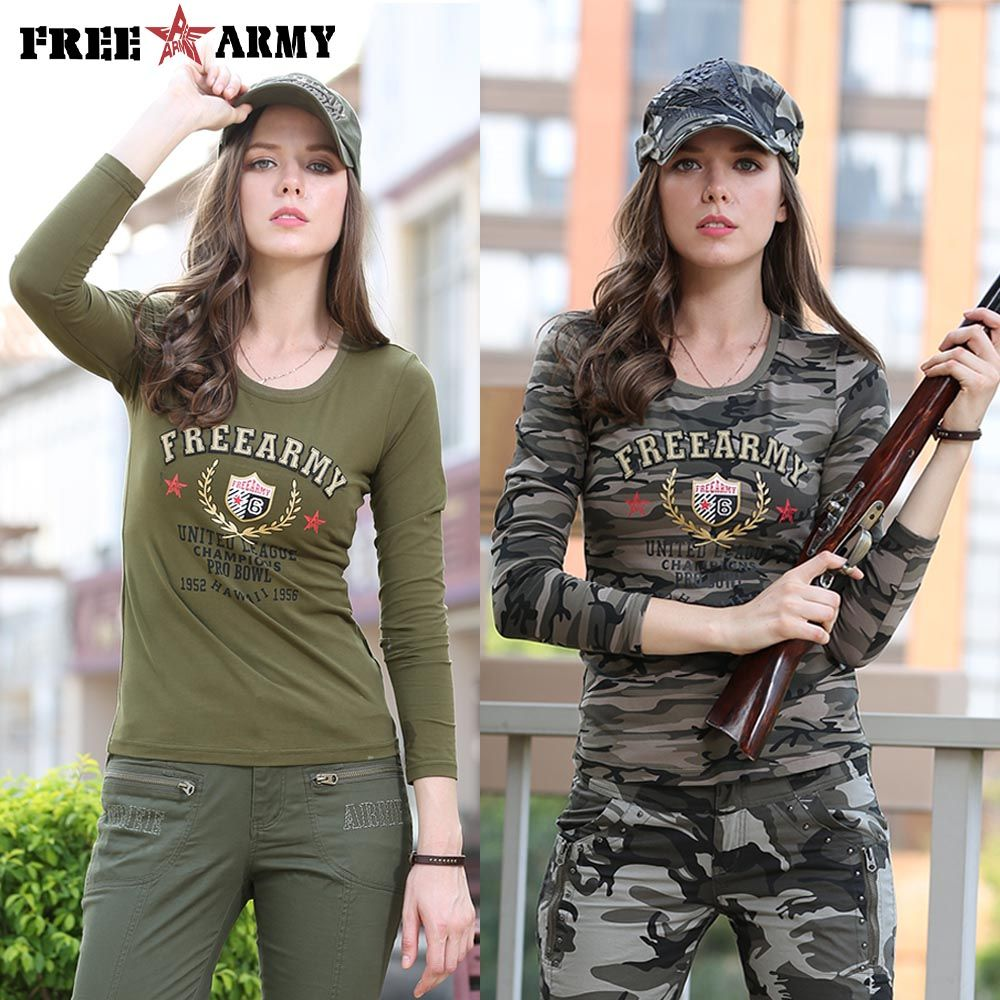 Fashion Long Sleeve Camouflage T Shirts Womens O-Neck Military Army Green  Cotton Spandex T shirts Ladies Tops and Tees Gs-8359 39a748441b