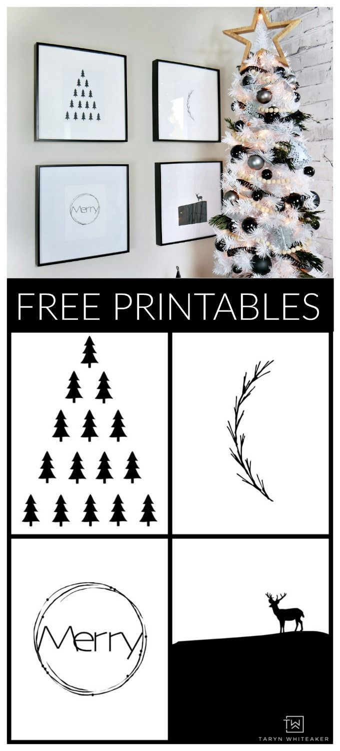 Black And White Modern Christmas Printables Taryn Whiteaker Christmas Prints Modern Christmas Christmas Printables