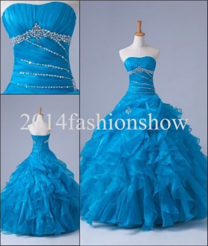 Blue Quinceanera Dresses Ruffle Beaded Prom Ball Pageant Dresses Sz 4 16 Custom | eBay