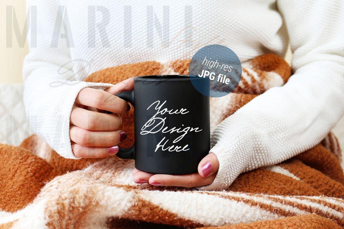 Black Mug mockup with woman holding mug Stock Photo 861