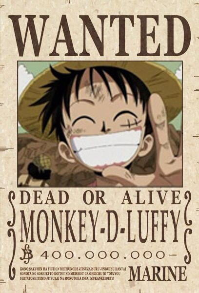 Luffy Wanted Poster Monkey D Luffy One Piece Anime One