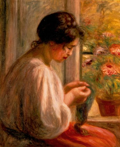 Title: Seamstress at Window (Ravaudeuse a la fenetre)  Artist: Pierre Auguste Renoir  Region: France  Period: circa 1908-1910  Material: oil on canvas  Dimensions: 25 1/2 x 21 1/2 in.  On view in the museum