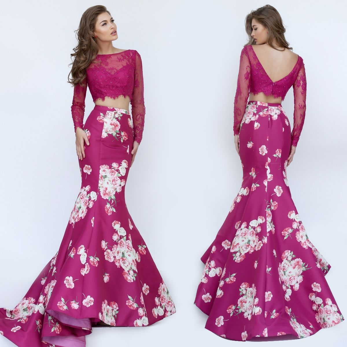 Two Piece Floral Print Prom Gown by Sherri Hill | Vestidos ...