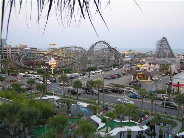 The Pavilion Featuring Hurricaine Roller Coaster At Myrtle Beach Sc