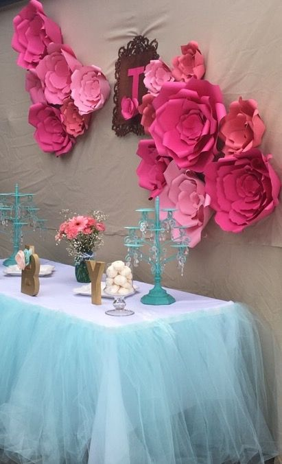 Candy Table Baby Shower Pink Paper Flowers Decoration Baby Shower Candy Table Pink Paper Flower Decorations