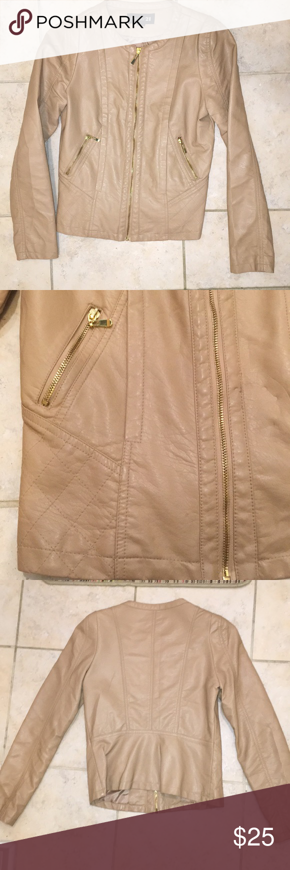 Light Tan Faux Leather Jacket with Gold Accents Slim fit