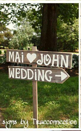 Rustic Wedding Signs Vintage Outdoor Weddings Large Road Sign Hand Painted Reclaimed Wood