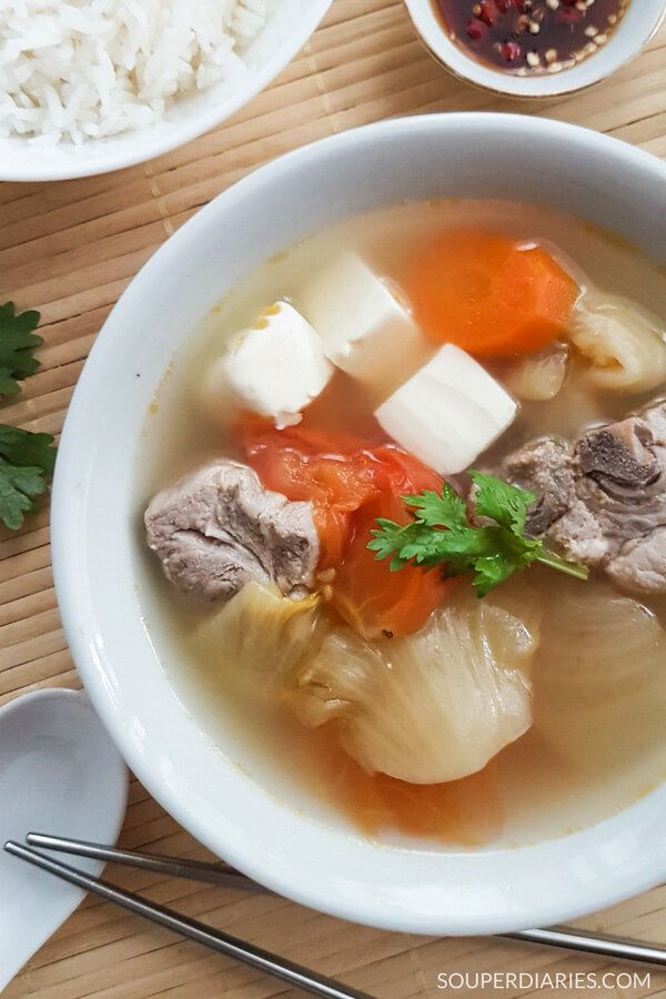Salted Vegetables Soup With Tofu And Pork Ribs Confinement Food Chinese Vegetable Soup Chinese Soup Recipes