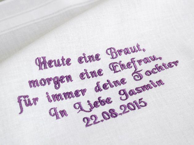 Besticktes Taschentuch Gastgeschenk Brauteltern