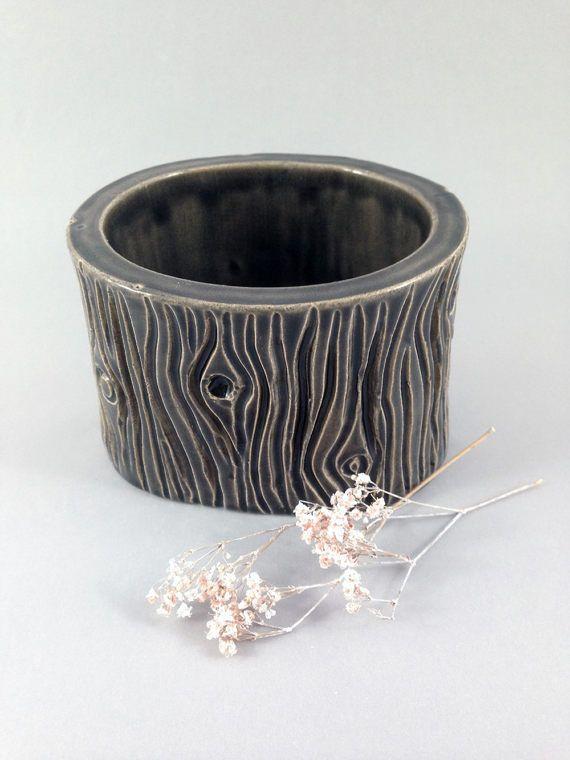 Keramik Behälter in Baumstammoptik Behälter mit Relief in