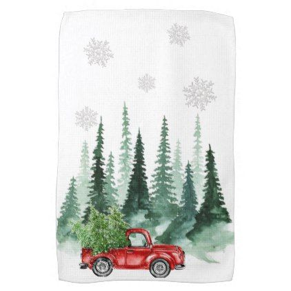 Watercolor Christmas Tree Red Old Truck Snowflakes Kitchen Towel | Zazzle.com