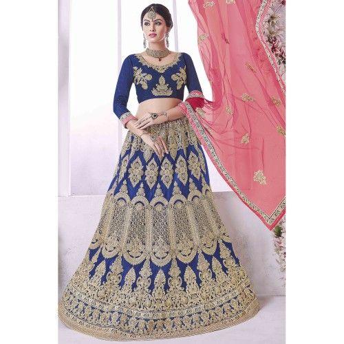 b022b7f2870 Craftsvilla Blue Net Embroidered Designer Lehenga Choli