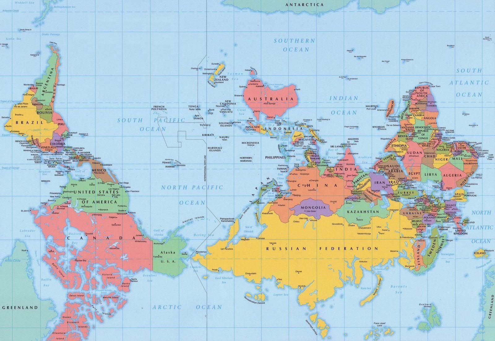 New Zealand Map Of The World.Reverse Polar World Map Ide Buat Rumah In 2019 New World Map