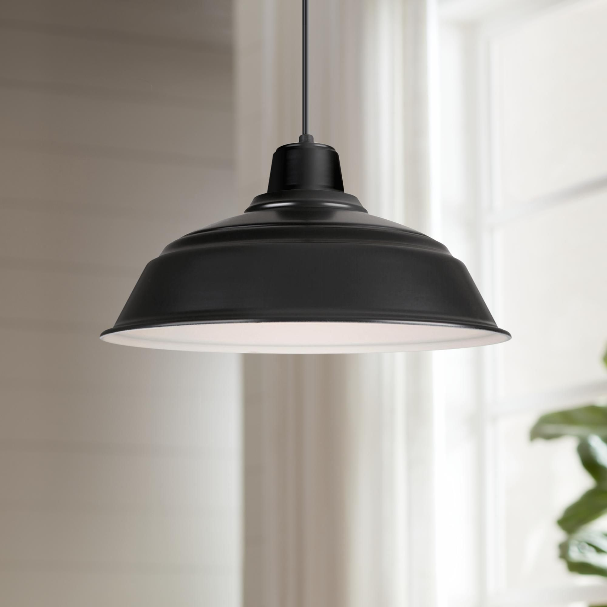 Hi Lite Warehouse 17 Inch Wide Black Metal Pendant Light Multi