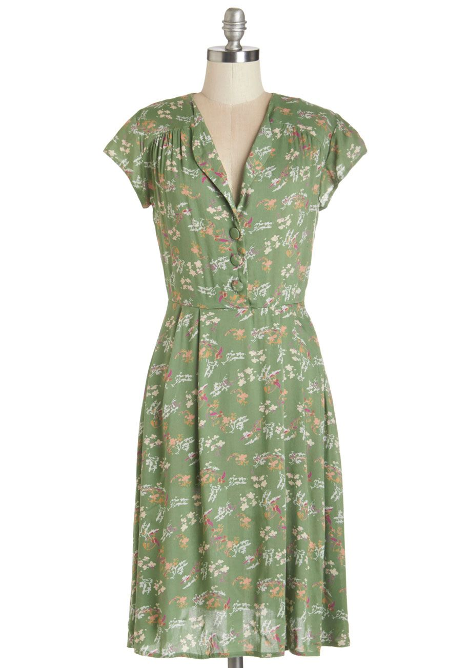 Dance florist dress multi woven green floral buttons casual