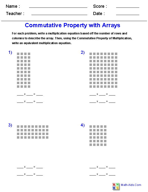 Commutative Property of Multiplication<br>with Arrays Worksheets ...