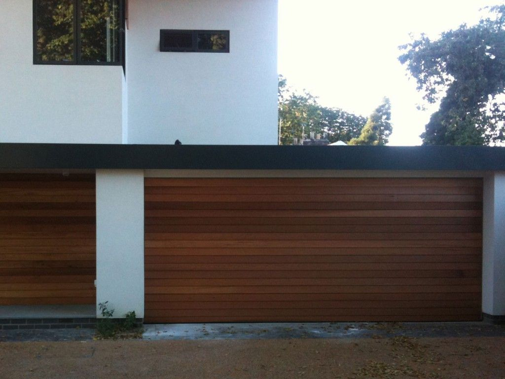 Contemporary Oak Garage Doors