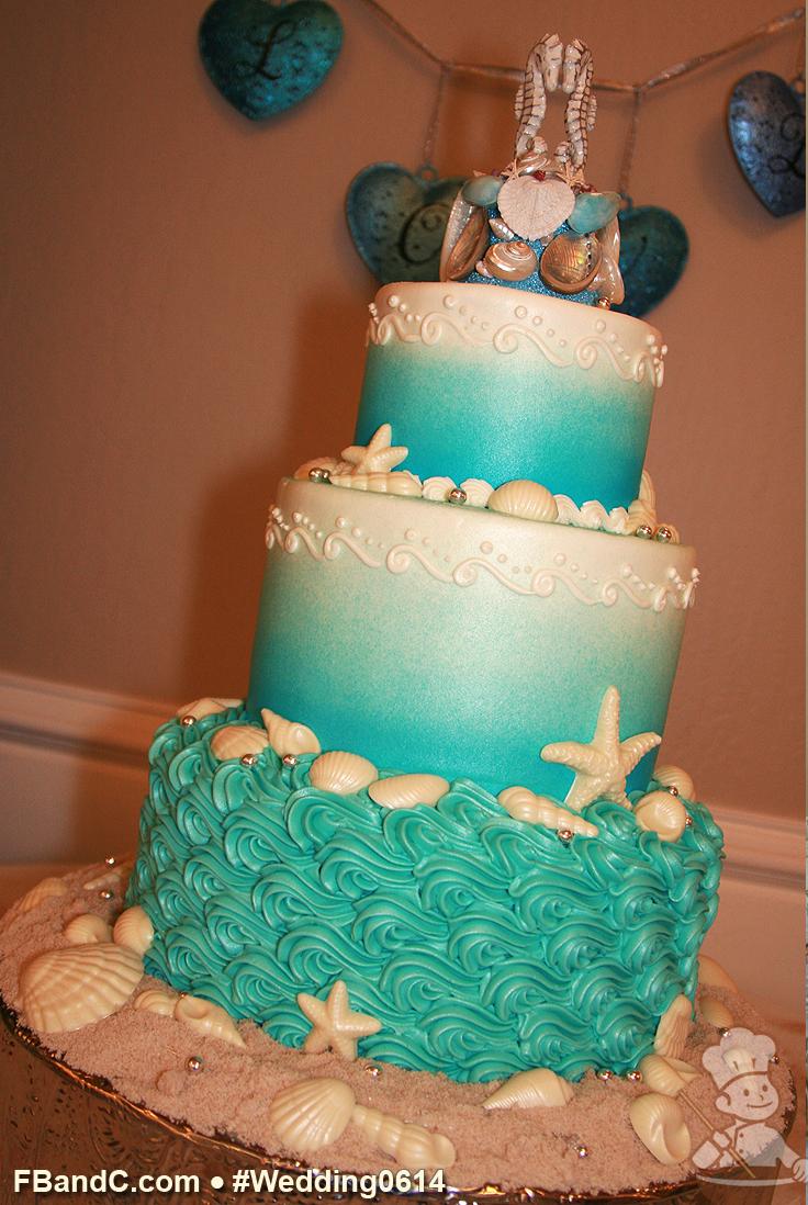 Turquoise Wave Beach Wedding Cake