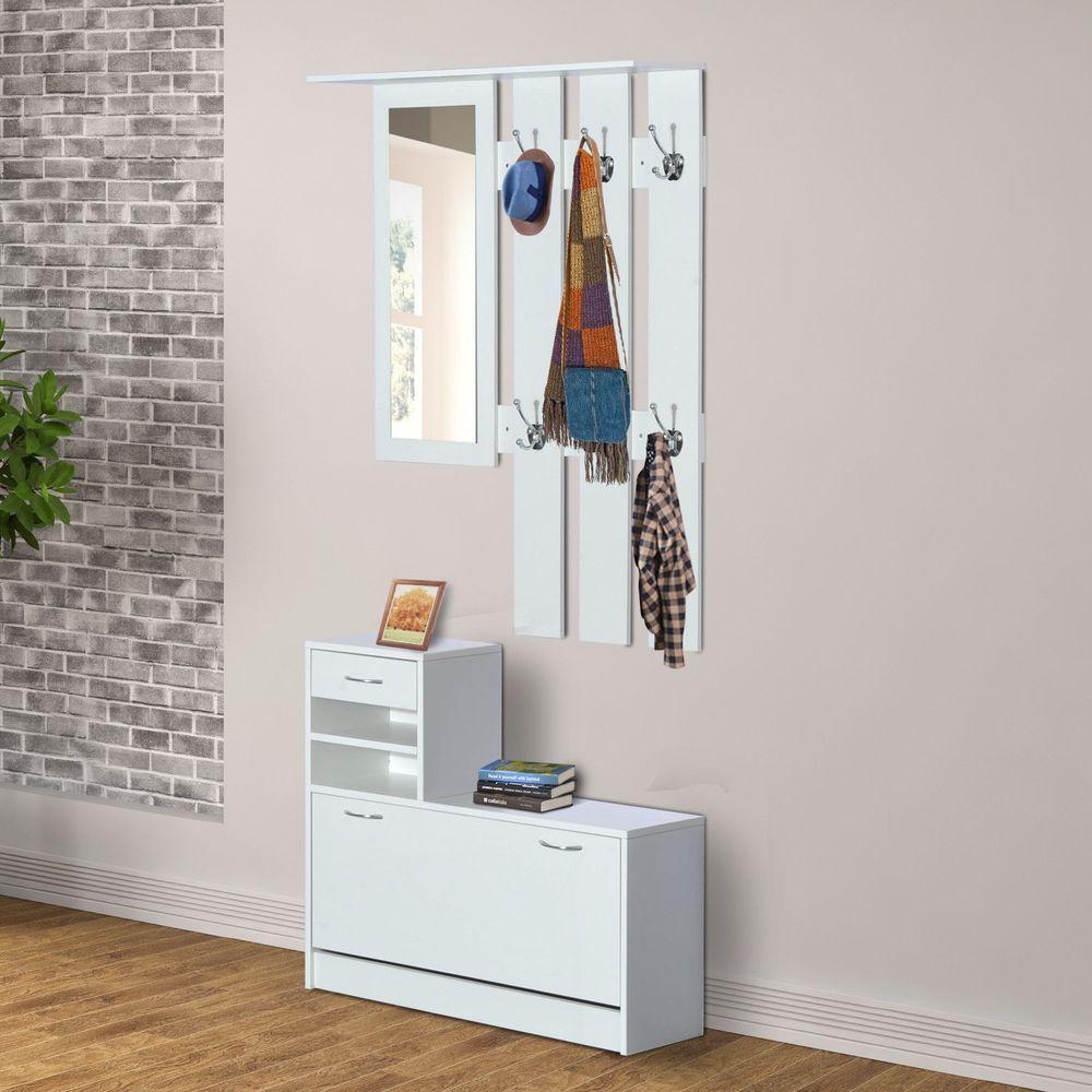 Hallway storage trunk  Details about Entryway Furniture Set Shoe Storage Cabinet Mirror