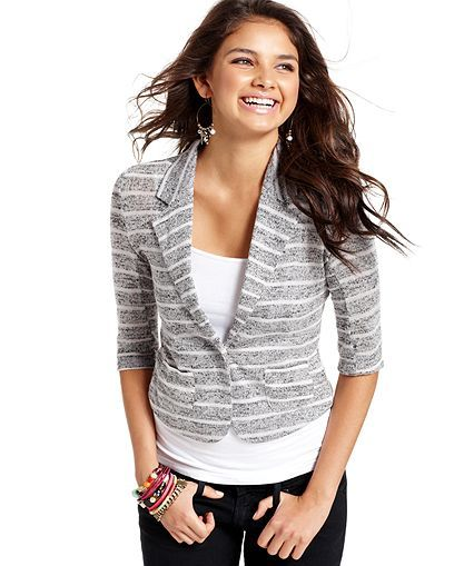 American Rag Juniors Sweater, Short Sleeve Striped Blazer ...