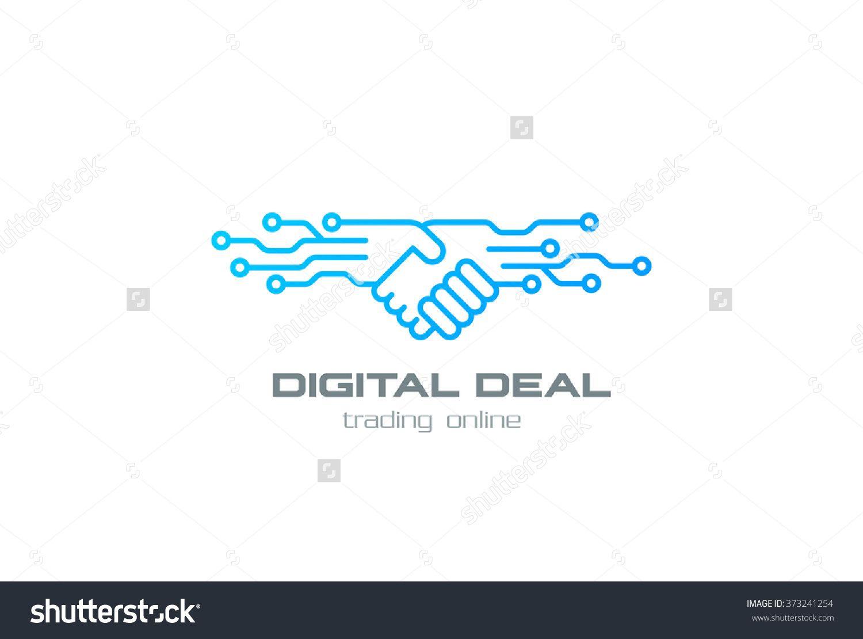 Digital Deal Online Contract Handshake Logo Design Vector Template