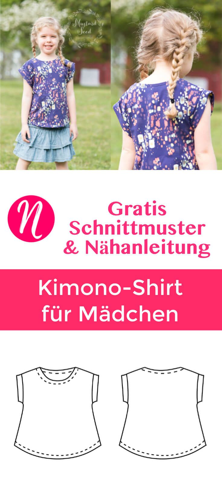 Kimono T-Shirt für Mädchen - Freebook | Diy baby, Patterns and ...