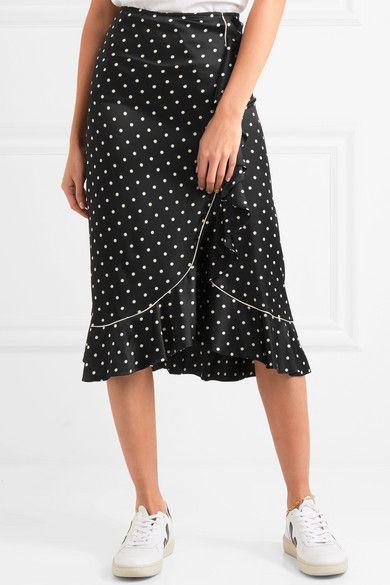 GANNI - Dufort ruffled polka-dot silk-blend satin skirt