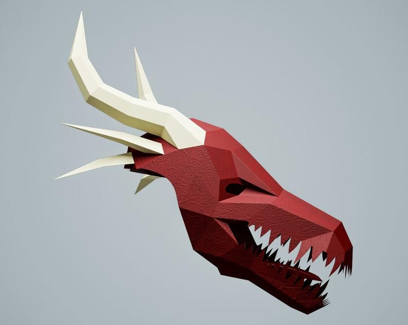 DIY paper craft PDF template digital animal head A4  US Papercraft mask Dragon printable download file make your own low poly dinosaur