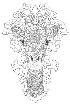 Line Art Doodle Zentangle Adult Coloring Page Giraffe On Behance