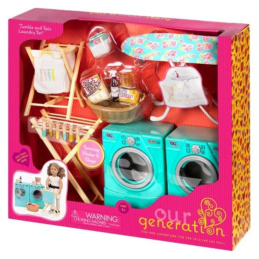 Our Generation Tumble And Spin Laundry Accessory Set American
