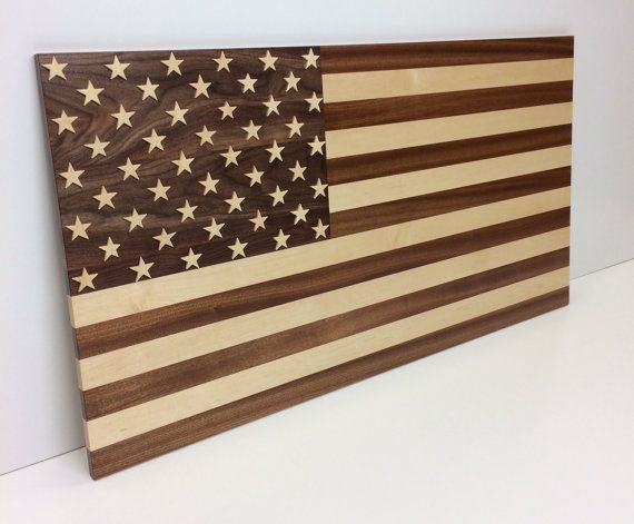 American Flag Made With Solid Hardwoods Including Walnut Maple And Sapele A Cousin Of Mahogany Flag Is 44 Wide By 23 Tall An Wood Flag American Flag Flag