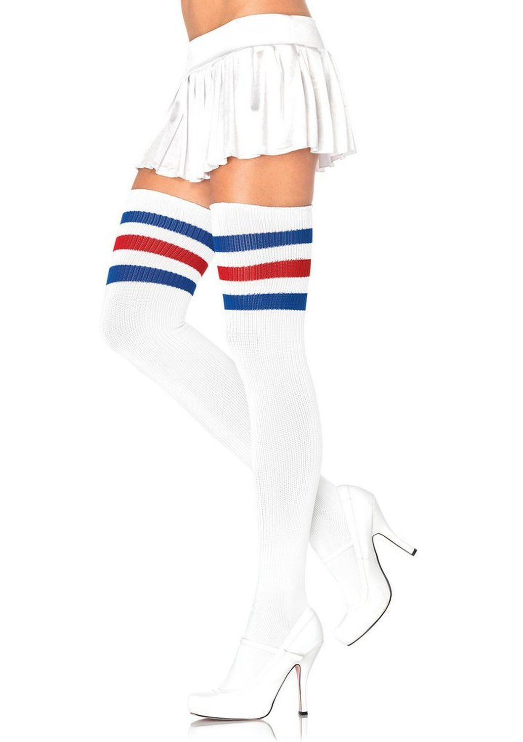 a170d821f Tank Girl  Ziangluke Women Triple Stripe Over the Knee High Socks (White  Blue Red)