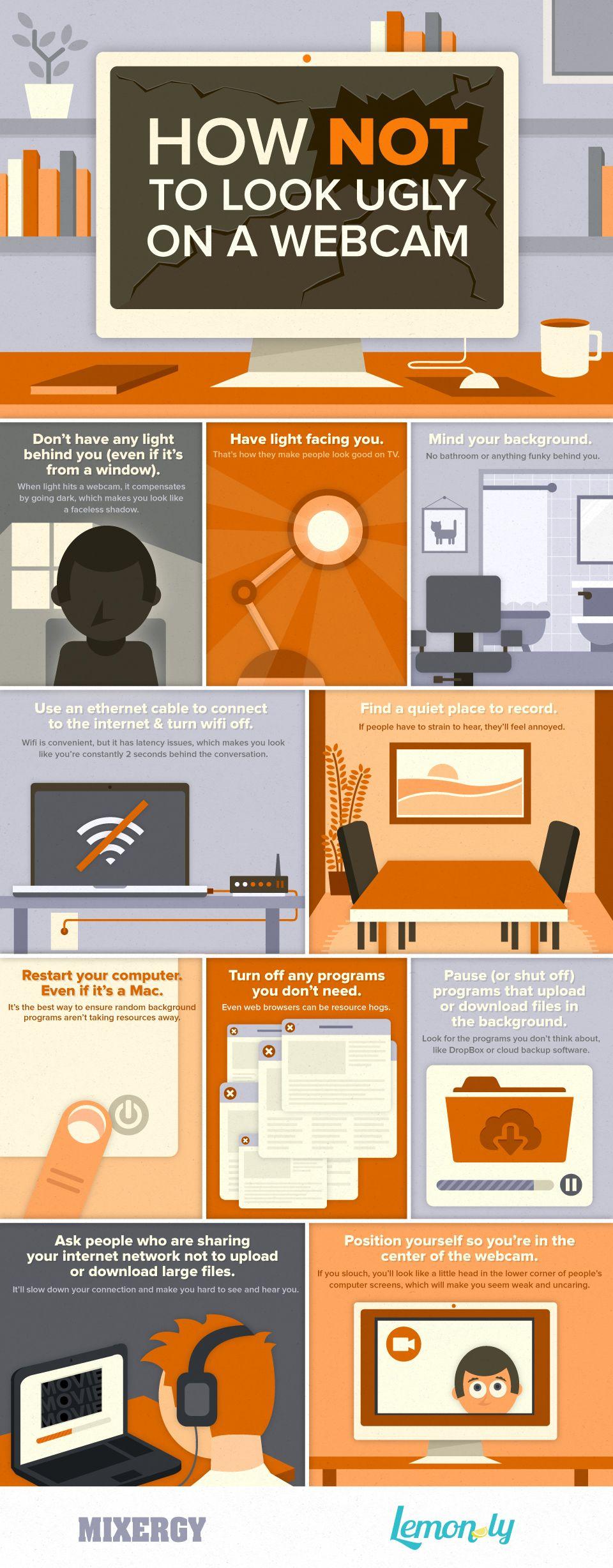 Gute Liste mit Tipps, worauf man vor der Videoaufnahme am PC (und Mac) denken sollte. Eine Menge der Punkte hatte ich gar nicht gewusst...  How Not To Look Ugly On A Webcam infographic ! via mixergy.com