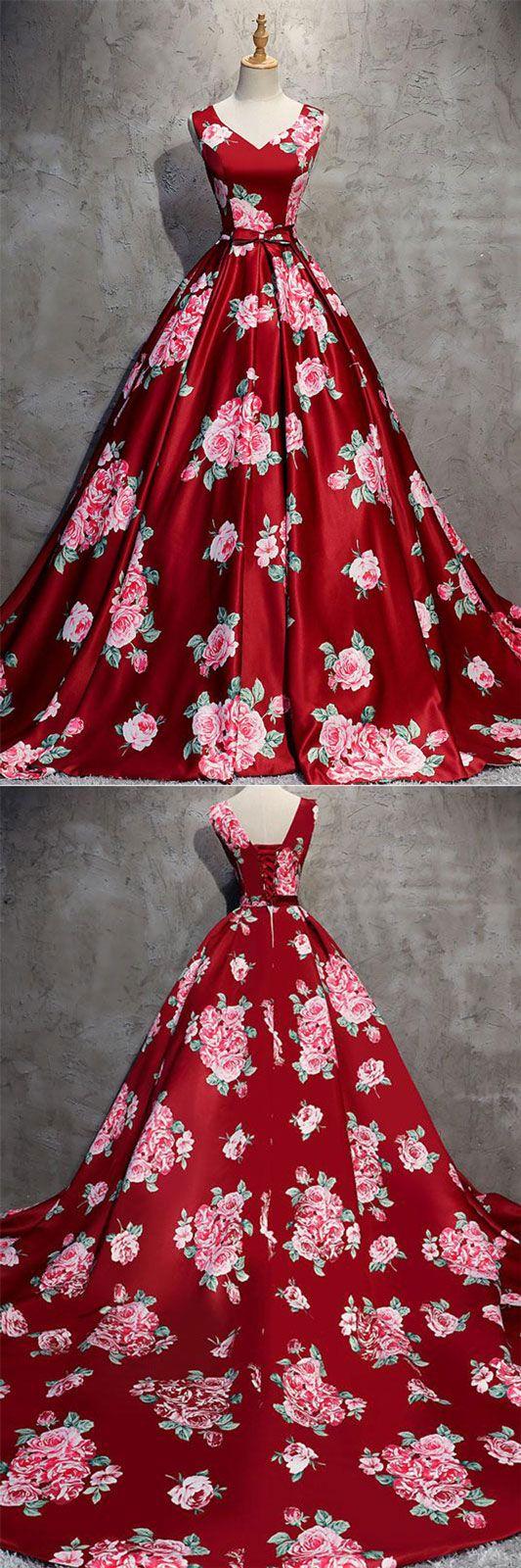 Burgundy v neck satin long prom dress burgundy evening dress long