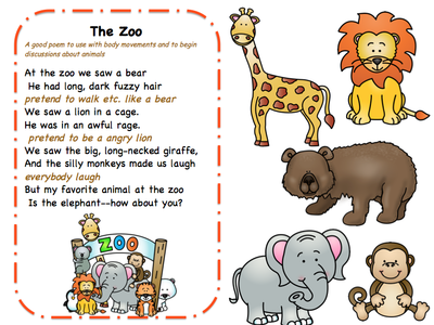 Songs Poems and Finger Play for Toddlers Preschool Printables