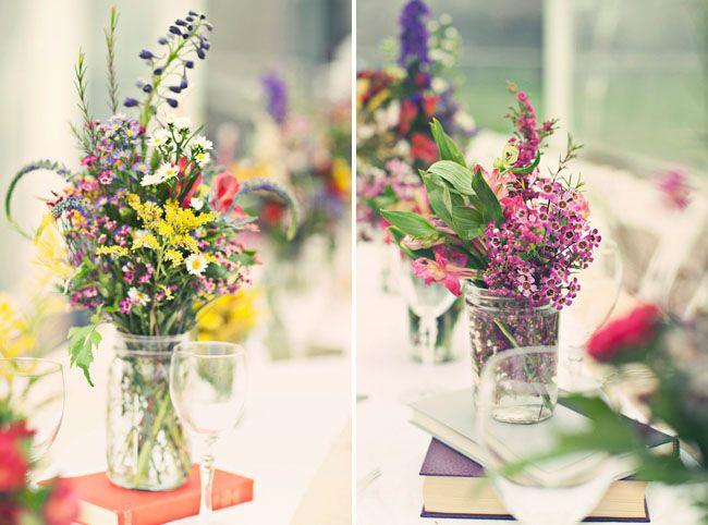 A Colorful Greenhouse Wedding Jenny Jamison Wildflower Centerpieces CenterpiecesWedding DecorationsMasonsWildflowers