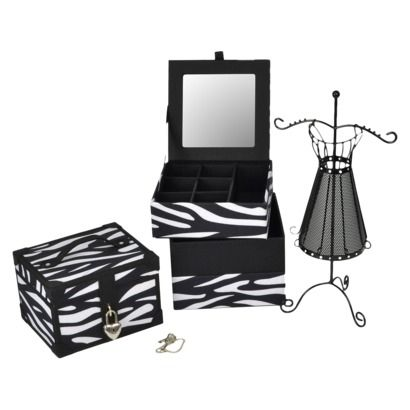 XHILARATION Zebra Grouping Dress Stand Black Sm Locked Jewelry Box