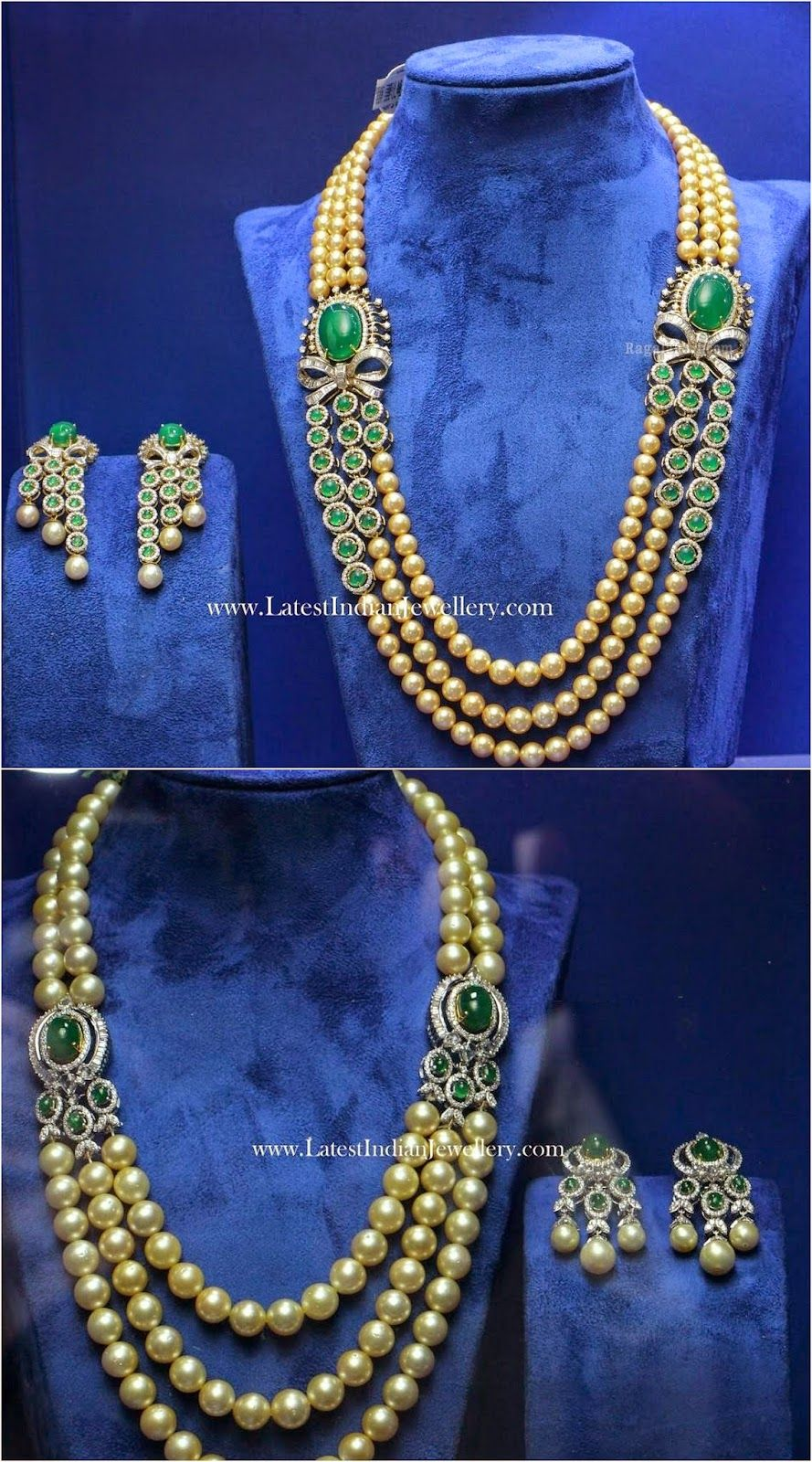 South Sea Pearls Diamond Emerald Mala South sea pearls Pearl